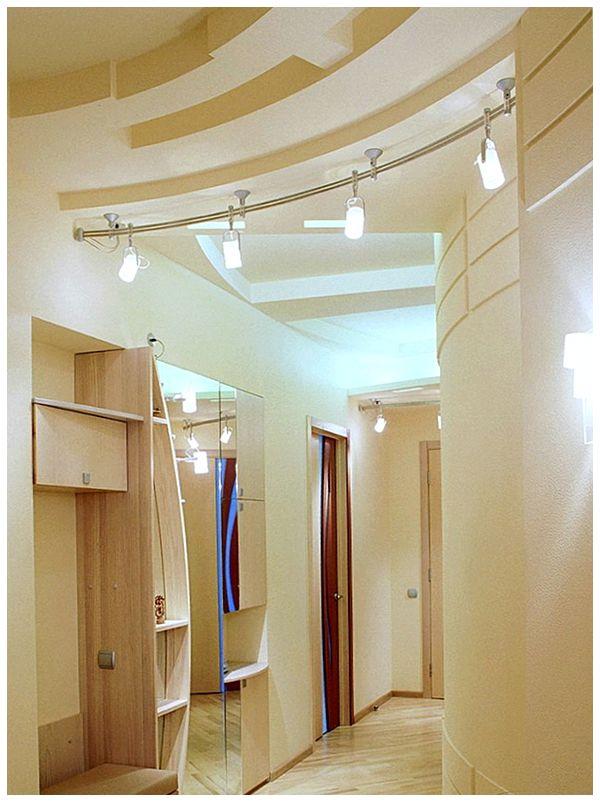 Фото дизайна потолка прихожей гипсокартоном